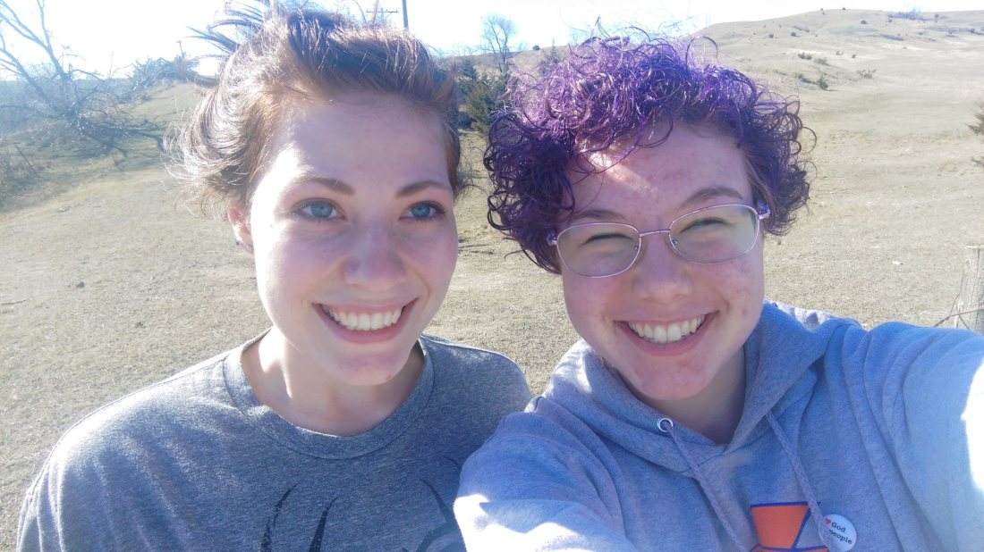 Rocking the purple hair in South Dakota with my bestie. PC: KSB