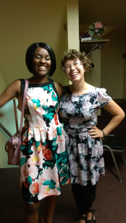 Laughing with my friend Dina after church a few weeks ago. Credit: Katelyn Skye Bennett
