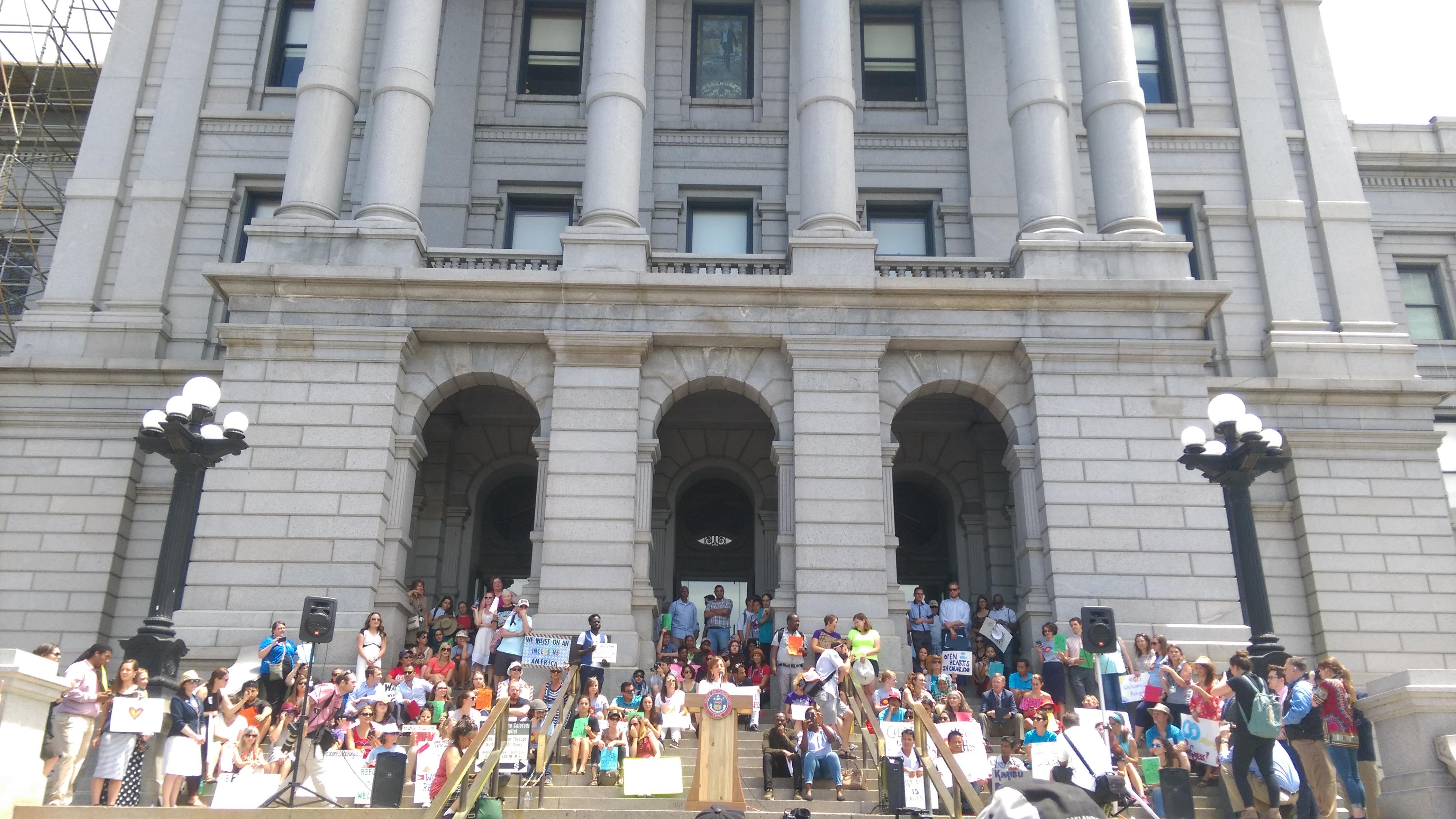 The rally at the Denver capitol on World Refugee Day 2017. PC: Katelyn Skye Bennett