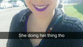 Dark purple lips to match my shirt and skirt. I was ready for the job fair! PC: KSB