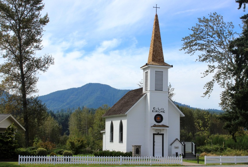 "A truly tiny ""little white church"" -- not mine, but a sanctuary for a small congregation across the country. PC: https://visitrainier.com/elbe-little-white-church/"